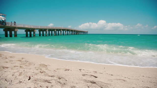 Beautiful shot of beach and pier in Miami-Sunny Isles, steadicam used video