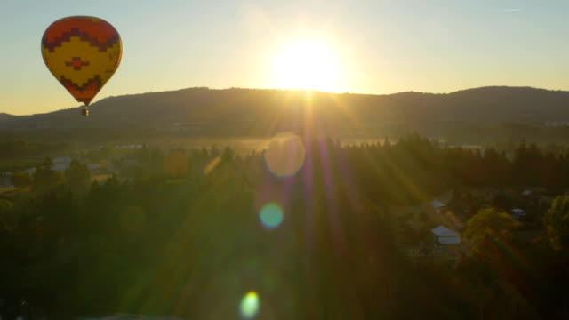 Beautiful shot of hot air balloon and sunrise video