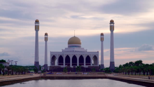 Beautiful sky of central songkhla mosque thailand video