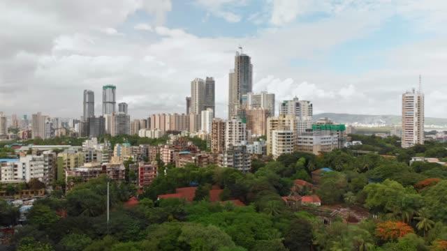 piękna panorama miasta bombaju, piękna pochmurna pogoda - krajobraz miejski filmów i materiałów b-roll