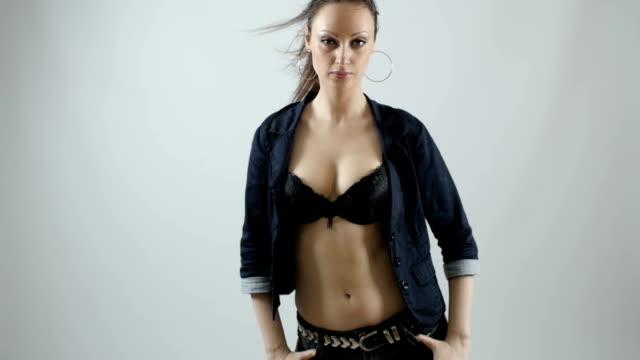beautiful slim body of woman in studio - cleavage stock videos & royalty-free footage