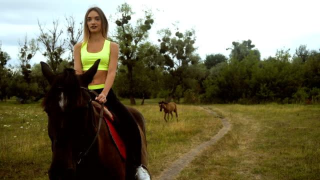 beautiful slim girl rides on horseback video