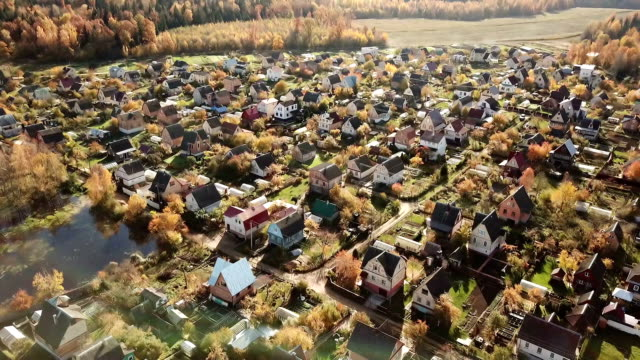 Video Beautiful small village or township in the autumn forest.