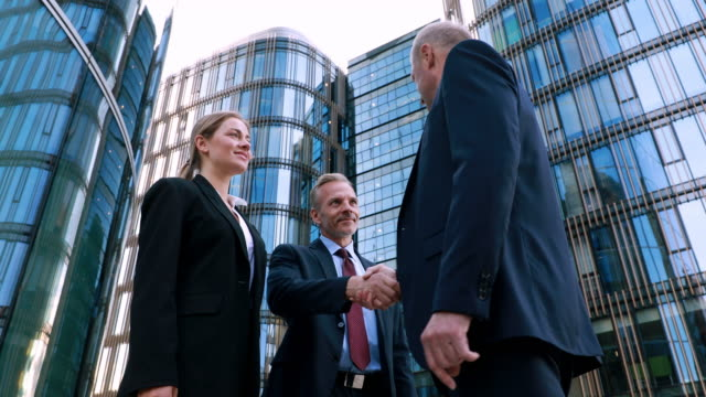 Beautiful smiling confident young caucasian woman pretty face meeting business partner, shaking hands happy millennial girl student professional low angle
