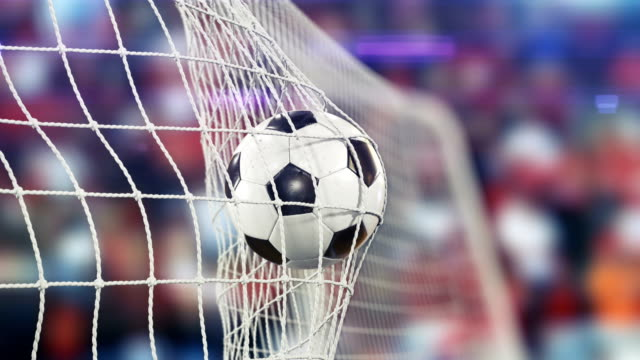 Beautiful Soccer Ball flies into Goal Net in Slow Motion. Football 3d animation of the Goal Moment. video