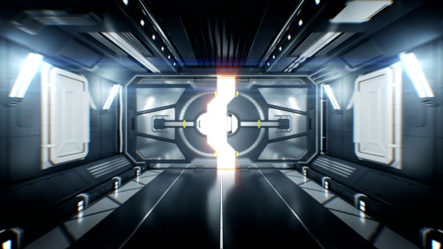 schöner raumschiff-tunnel mit open-metal-gates und flug durch ihn nach white light. abstract futuristic 3d animation with alpha channel. - kosmonaut stock-videos und b-roll-filmmaterial