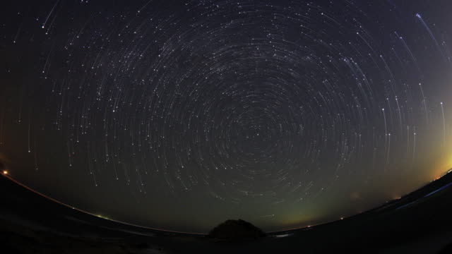 Beautiful spiral star trails in fish-eye lens video