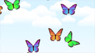 istock beautiful spring and summer design animation with butterflies on light blue sky background. Looped animated stock footage. Colorful butterflies flying up. 1306490692