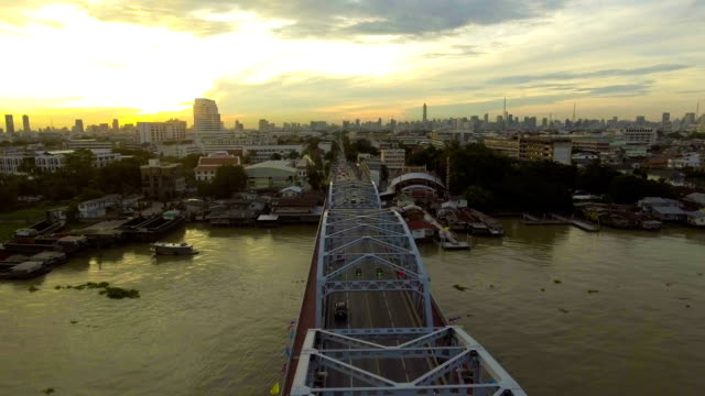 Beautiful Steel Bridge across River in City at Morning video