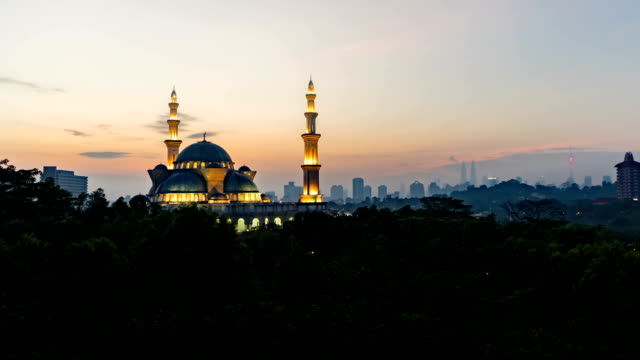 Beautiful Sunrise At Federal Kuala Lumpur Mosque. Tilt up video