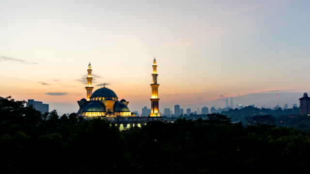 Beautiful Sunrise At Federal Kuala Lumpur Mosque. Zoom in video