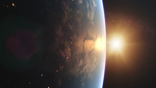 beautiful sunrise over earth from space - brzask filmów i materiałów b-roll