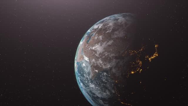 vídeos de stock, filmes e b-roll de 4k belo nascer do sol sobre a terra. terra realista com luzes noturnas do espaço. - equador latitude