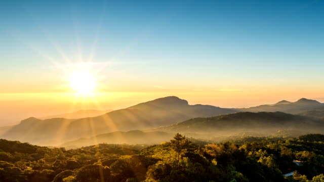 Beautiful sunrise over mountain range in Asia, Chiang Mai, Thailand. video