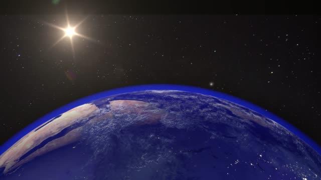 stockvideo's en b-roll-footage met prachtige zonsopgang wereld skyline. planeet aarde uit de ruimte. planeet aarde roterende animatie. clip bevat ruimte, planeet, melkweg, sterren, kosmos, zee, aarde, zonsondergang, globe. 4k 3d render. beelden van nasa - new world