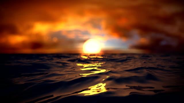 Beautiful sunset above the sea. video