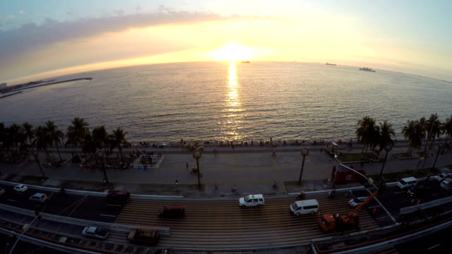 Beautiful sunset in Manila Bay video
