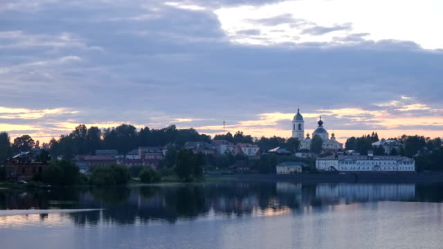 A beautiful sunset in the city of Myshkin, timelapse video