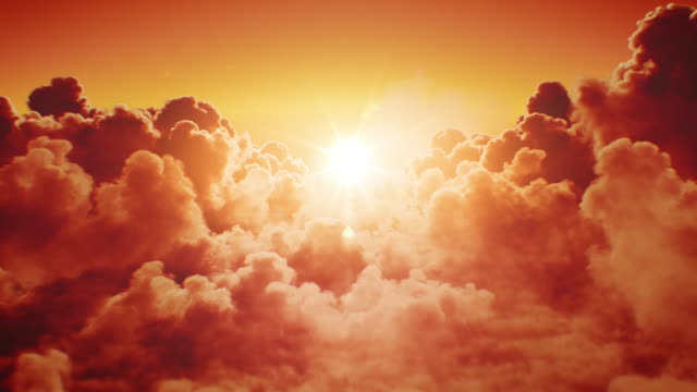 beautiful sunset in the skies. flying over the infinite clouds with the evening (morning) sun shining bright seamless. looped 3d animation with sunset (sunrise) over the horizon. - бог стоковые видео и кадры b-roll