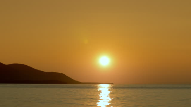 Beautiful sunset light beam shining