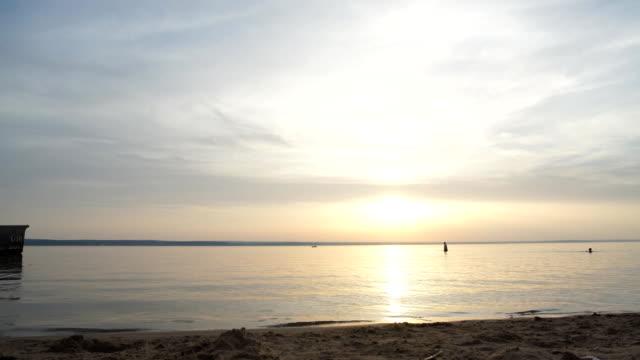 beautiful sunset on river video