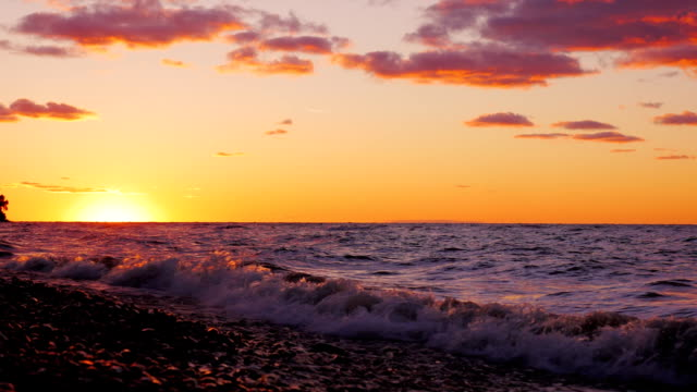 Beautiful sunset over Lake Ontario, United States video