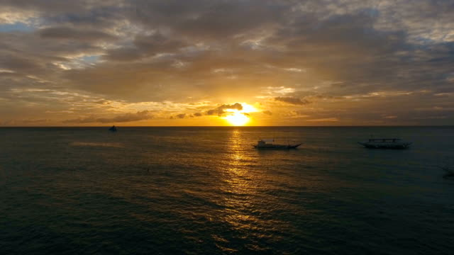 Beautiful sunset over sea, aerial view. Boracay island Philippines video