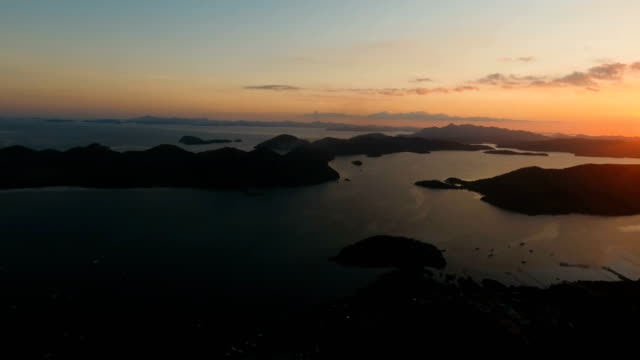 Beautiful sunset over sea, aerial view. Busuanga island Philippines video