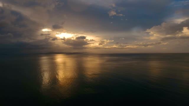 Beautiful sunset over sea, aerial view.Catanduanes video