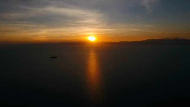 Beautiful sunset over sea, aerial view.Cebu video