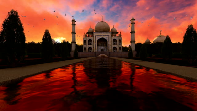 Beautiful Sunset Over Taj Mahal video