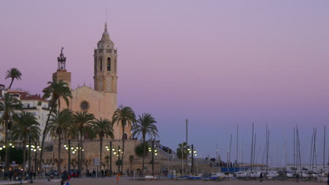 beautiful sunset sitges church view 4k spain video