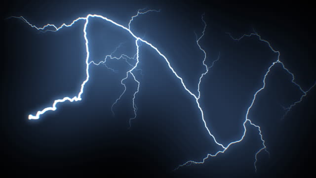 Beautiful Super Slow Motion Lightning Strikes from Skies to Camera. Realistic Thunderbolts Isolated on Black Background with Bright Blue Flashes. Electrical Storm Looped 3d Animation