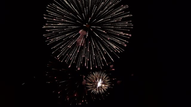 Beautiful surreal fireworks in the night sky. Bright multicolored flashes on a black background. Festive event. Closeup. The concept of the celebration. 4K. Beautiful surreal fireworks in the night sky. Bright multicolored flashes on a black background. Festive event. Closeup. The concept of the celebration. 4K. petard stock videos & royalty-free footage