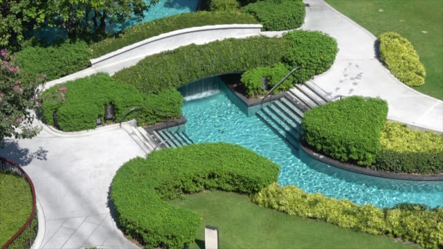 beautiful swimming pool in garden decoration