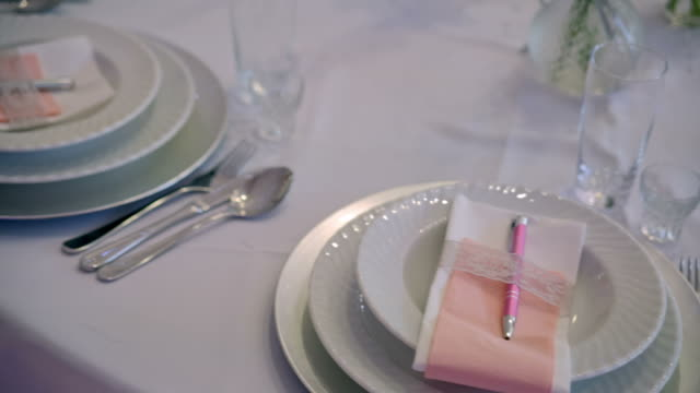 beautiful table setting in restaurant video