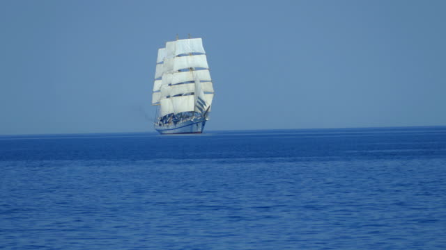 Beautiful tall ship  on all sails in the open sea video