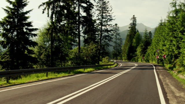 Beautiful Tatra mountains forest curvy car road. FullHD gimbal stabilized travelling shot video