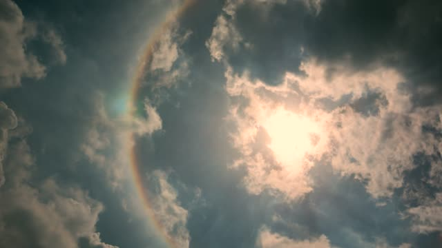 Beautiful the Sun Halo Beautiful the Sun Halo (Circumscribed Halo) rainbow stock videos & royalty-free footage