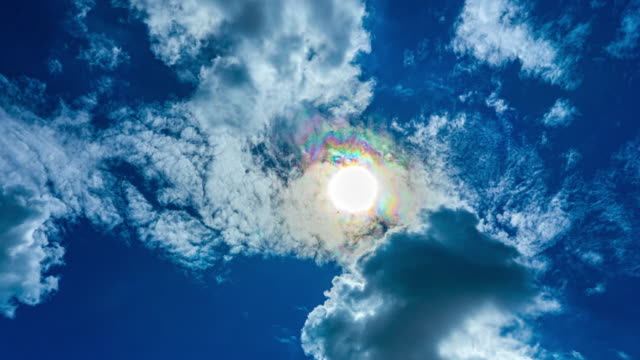 Beautiful Time lapse Cloudy Sky With Sun Rays Halo in the summer
