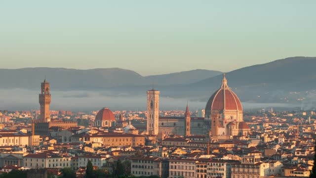 beautiful time lapse sunrise night and day in Florence, Tuscany, Italy