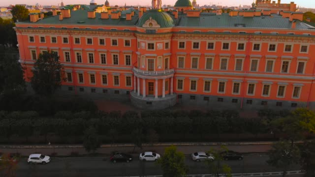 SAINT PETERSBURG, RUSSIA - MAY 2018: beautiful Top view of St. Petersburg from the air an Mikhailovsky castle on a Sunny summer day SAINT PETERSBURG, RUSSIA - MAY 2018: beautiful Top view of St. Petersburg from the air an Mikhailovsky (engineering) castle on a Sunny summer day russian culture stock videos & royalty-free footage