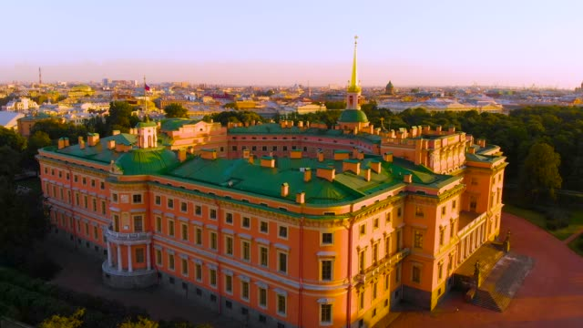 SAINT PETERSBURG, RUSSIA - MAY 2018: beautiful Top view of St. Petersburg from the air an Mikhailovsky (engineering) castle on a Sunny summer day SAINT PETERSBURG, RUSSIA - MAY 2018: beautiful Top view of St. Petersburg from the air an Mikhailovsky (engineering) castle on a Sunny summer day russian culture stock videos & royalty-free footage
