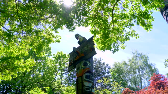 Beautiful Totem Pole, Indigenous Indian First Nations Wood Carving Art