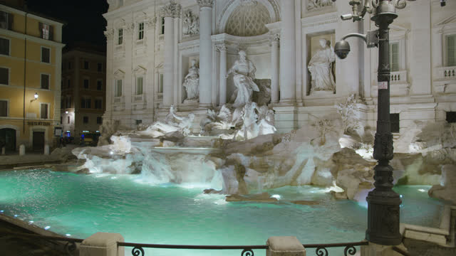 SLO MO Beautiful Trevi Fountain at night