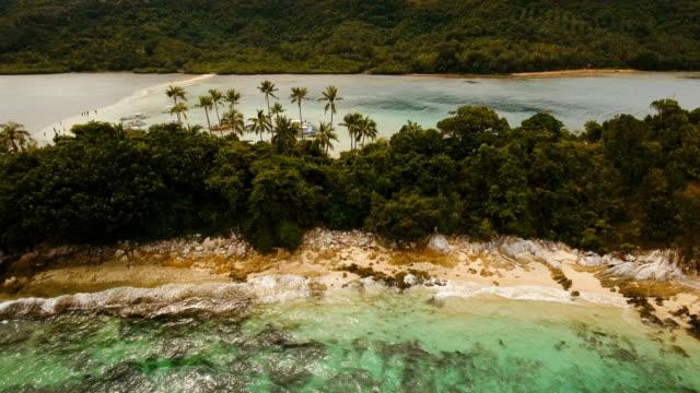 Beautiful tropical beach, aerial view. Tropical island video