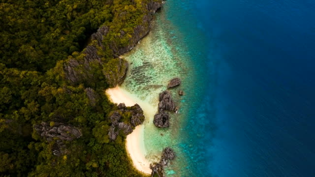 Beautiful tropical lagoon, aerial view. Tropical island video