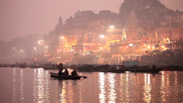 Beautiful Varanasi Ghats and cityscape in early evening, along the Ganges video