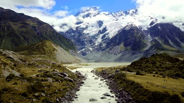 Beautiful view and glacier in Mount Cook National Park, South Island, New Zealand video