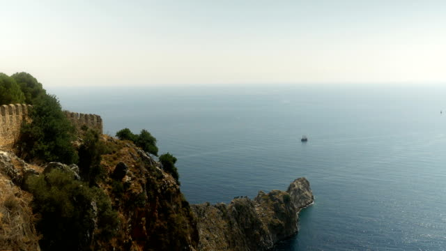 Beautiful view from Alanya Castle with background of Sightseeing Ship video